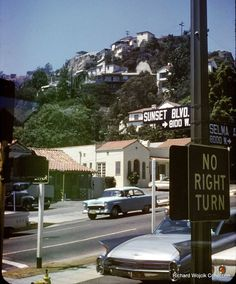 Looking NW from the corner of Sunset Blvd. and Selma Ave in 1967  Check out the Stahl House at very top!