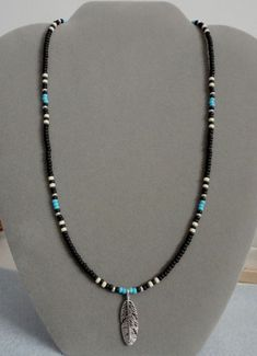 Black + Blue Turquoise Silver Feather Beaded Necklace Native American ~Free Ship | Jewelry & Watches, Ethnic, Regional & Tribal, Native American | eBay!