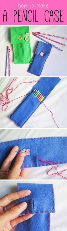 Too cute! DIY the cutest pencil cases any kid would love (and can use as a beginners sewing activity!). The best part is that this project is not just restricted to pencils, you can make these for smartphones, tablets, notebooks, calculators and more! http://www.ehow.com/how_2258727_make-pencil-case.html?utm_source=pinterest.com&utm_medium=referral&utm_content=freestyle&utm_campaign=fanpage