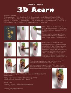 "♥ Tammy Taylor Acorn"" Nail Design Step by Step Nail Tech School, School Nails, Acrylic Liquid, Acrylic Nail Art, Great Nails, Amazing Nails, Tammy Taylor Nails, Nail Tutorials, Design Tutorials"