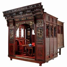 Antique Asian Furniture: Antique Chinese Carved Canopy Bed with Alcove from Zhejiang Province, China - Amazing!!!! But would probably take up my entire bedroom...:)