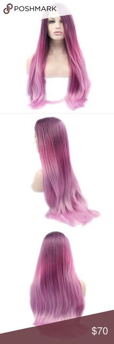 Prurple &Pink Ombré Synthetic Lace Front Wih This wig has never been worn, just put on the mannequin for pics. Wig cap is light color. Come in a plastic storage bag.  - Material:Synthetic Hair - Item Type:Wig - Lace Wig Type:Lace Front wigs - Cap Size:M - Hair Material:Heat Resistant Synthetic Hair Fiber Accessories Hair Accessories