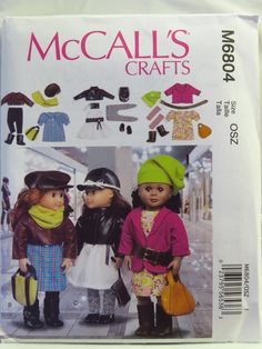 """McCall's 6804 18"""" Doll Clothes"""