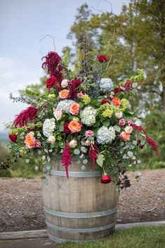 Florals on wine barrels - Blue Ridge Mountain Wedding, North Carolina