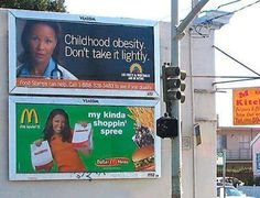 This is a ironic coincident that these signs would be next to each other. However it makes people think about the severity of obesity when they see it. Funny Ads, Funny Signs, Hilarious, Mcdonalds Funny, Funny Headlines, Fun Funny, Funny Humor, Advertising Fails, Funny Billboards
