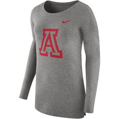 Women's Nike Arizona Wildcats Cozy Knit Top ($55) ❤ liked on Polyvore featuring tops, dark beige, crew top, print top, graphic print top, long sleeve tops and nike