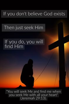 If you don't believe that God exists, then just seek Him. If you do, you will find Him.