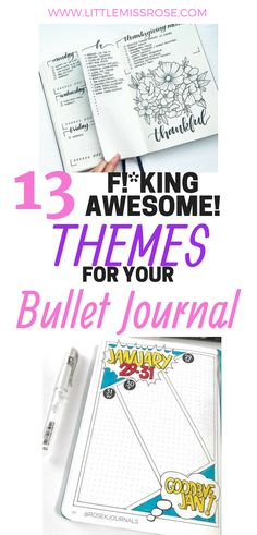 Read this article for 13 amazing bullet journal themes you can try in your own bullet journal! There are enough themes and examples for every month of the year Making A Bullet Journal, Bullet Journal How To Start A, Bullet Journal Junkies, Bullet Journal Spread, Bullet Journal Inspiration, Bullet Journal Reading List, Bullet Journal Printables, Bullet Journal Themes, Bullet Journal Layout
