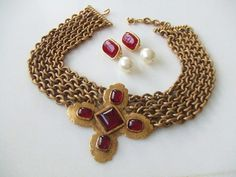 Vintage Chanel Ruby Red Gripoix Gold Byzantine Necklace