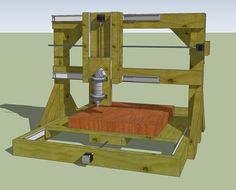 Sturdy frame design of a xyz-table, with router. Cnc Router Plans, Arduino Cnc, Diy Cnc Router, Router Jig, Router Woodworking, Woodworking Furniture, Fine Woodworking, Woodworking Magazine, Furniture Plans