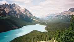 The blue of the glacial waters of Peyto Lake, Canada