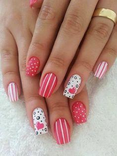 Valentine Nail Art Designs for Romantic Theme Great Nails, Cute Nail Art, Beautiful Nail Art, Gorgeous Nails, Love Nails, Pink Nails, White Nails, Perfect Nails, Black Nails