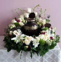 White  Purple with Pods 360 Degree Urn Arrangement, created at Harbourview Flowers in Thunder Bay, ON.
