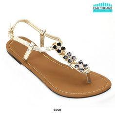 Feather Shoe Flower-Adorned Sandals – Gold