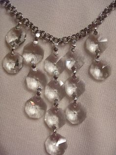 Vintage chandelier crystal and rhinestone necklace See more about ...