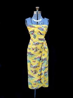 vintage hawaiian dress pan am print