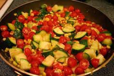 Pasta with Corn, Tomatoes, and Zucchini #vegan #CSA