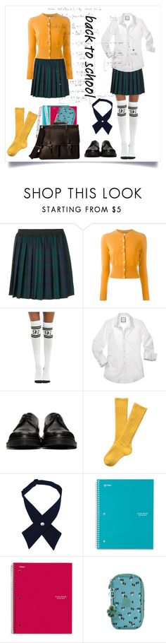 """""""School uniforms 🙂"""" by thefakecake ❤ liked on Polyvore featuring P.A.R.O.S.H., N.Peal, Warner Bros., Dr. Martens, French Toast, Five Star, Kipling and Kenneth Cole Reaction"""