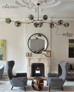 Two Styles, One Room: Classic and Edgy Living Room | Lindsay Adelman Chandelier
