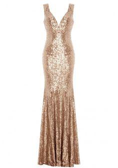 Goddiva Sequined Low V Neck Maxi Dress in Champagne