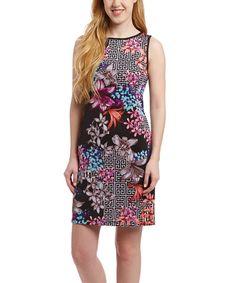 White & Pink Floral Shift Dress - Petite by Shelby & Palmer #zulily #zulilyfinds