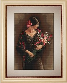 Mother with Child from Luca-S counted cross stitch kit. The final design is x in size. Diy Bead Embroidery, Embroidery Kits, Cross Stitch Embroidery, Needlepoint Kits, Needlepoint Canvases, Counted Cross Stitch Patterns, Cross Stitch Designs, Spanish Woman, Cross Stitch Needles