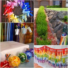 Giggleberry Creations!: Rainbow of Ribbons Party Pics!!  Loved the ball ornaments - can be filled with tissue paper in rainbow colours, cheaper than ribbon.  Love the ribbon garland too.