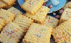 <p>Crunchy Coconut Biscuits topped with sprinkles. My all time favourite tea dipper.</p> Cokies Recipes, Snack Recipes, Dessert Recipes, Snacks Ideas, Low Carb Desserts, Sweet Desserts, Sweet Recipes, Biscuit Cake, Biscuit Recipe