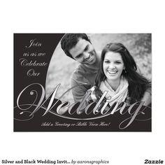 Silver and Black Wedding Invitations