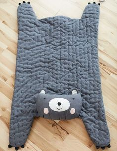 Huxley Bear Plush Play Mat// Baby Sewing Projects, Sewing For Kids, Sewing Crafts, Baby Play, Baby Toys, Hallmark Baby, Pastel Nursery, Bear Blanket, Sewing Pillows