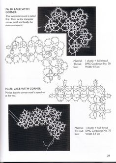 2 Tatting  Edgings with Corners . Actual & pattern chart