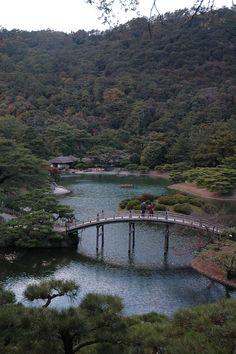 View across the South Pond - Ritsurin Park