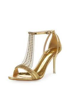 Golden Stiletto Heel Party & Evening PU Sandals