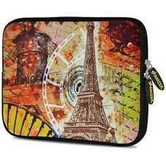 Amzer 7.0 - 7.75 Inches Designer Neoprene Sleeve Case for iPad/Tablet/e-Reader and Notebooks, Eiffel Tower Paris, Blue