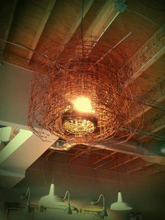 chandelier made out of chain link fence (Seattle, WA Starbucks on 15th)