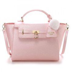 Samantha-Thavasa-Vega-2WAY-Padlock-Far-Charm-Handbag-Shoulder-Bag-Large-JAPAN