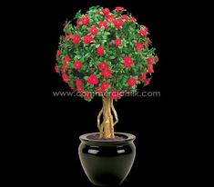 This Outdoor Artificial Azalea Topiary Ball withstands all weather conditions Artificial Indoor Plants, Artificial Topiary, Boxwood Topiary, Topiary Trees, Topiaries, Commercial Landscape Design, Commercial Landscaping, Flexible Wood, Like Symbol