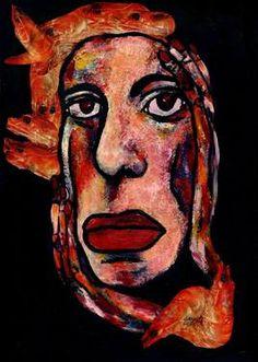 "Saatchi Art Artist CARMEN LUNA; Painting, ""41-RETRATOS Expresionistas. Miss Langostino."" #art http://www.saatchiart.com/art-collection/Painting-Assemblage-Collage/Expressionist-Portrait/71968/51263/view"