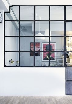 We love this cool glass window wall between the bedroom and living room. Interior Windows, Interior Walls, Home Interior Design, Glass Partition Wall, Pony Wall, Glass Room, Glass Walls, Glass Art, Half Walls