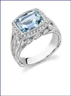 Gregorio 18K White Gold Diamond Engagement Ring (Diamond 0.55 cttw, Aquamarine 2.75ct, G-H Color, VS-SI Clarity)  Price : $5,000.00 http://www.blountjewels.com/Gregorio-Diamond-Engagement-Aquamarine-Clarity/dp/B009RWLA56