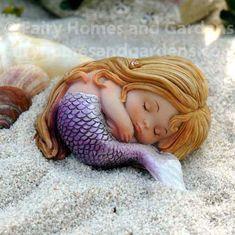 Fairy Homes and Gardens - Shopping Cart Baby Mermaid, Mermaid Dolls, Mermaid Art, The Little Mermaid, Fantasy Mermaids, Mermaids And Mermen, Silikon Baby, Mermaid Crafts, Clay Fairies