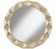 "Raised Champagne Diamond 33 1/2"" Round Wall Mirror | 55DowningStreet.com"