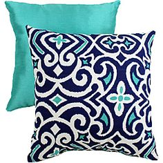 Pillow Perfect Decorative Blue/White Damask Square Toss Pillow - Today $24.62