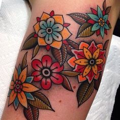 Image result for turquoise and red flower tattoo
