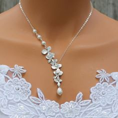 Wedding Jewelry Orchids Necklace Pearl Necklace by LadyKJewelry, $39.00