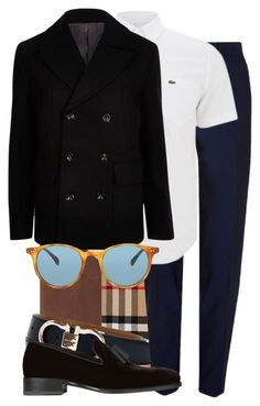 """""""Untitled #1502"""" by triskid ❤ liked on Polyvore featuring FOSSIL, Burberry, Salvatore Ferragamo, River Island, Lacoste, Oliver Peoples, Dsquared2, men's fashion and menswear"""
