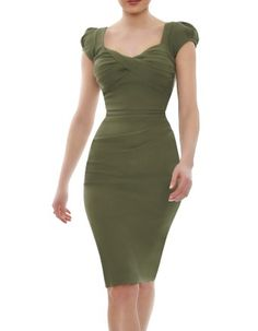 <p>The Nigella Dress draws on the vintage charm and feminine glamour of old Hollywood. This sexy, fern green bombshell of a dress hugs your curves, flattering ample bosoms without revealing too much cleavage, and is guaranteed to draw compliments. Named after celebrity fan, Nigella Lawson, who famously wore this dress to rapturous acclaim, this expertly crafted retro 1950's inspired style is the perfect party dress for big busted women up to H cups who want to show off their curves this…