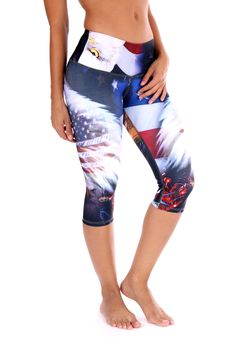 4th of July Workout Capris Show your pride for America in these 4th of July Capris. Inspiring images of the American Flag, fireworks, & the american bald eagle. - Wide waist band - Soft, stretchy and