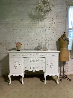 Painted Cottage Prairie Chic One of a Kind Vintage Buffet / Sideboard / Server SV679