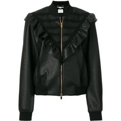 Stella McCartney ruffle-trimmed faux leather bomber jacket (6.420 BRL) ❤ liked on Polyvore featuring outerwear, jackets, black, blouson jacket, fake leather bomber jacket, vegan jackets, synthetic leather jacket and imitation leather jacket